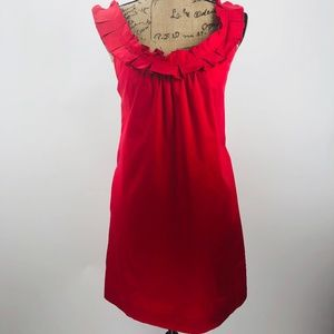 Anthropologie Fei Red Ruffle Trim Dress